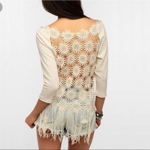 Crochet flower back top by Urban Outfitters Medium